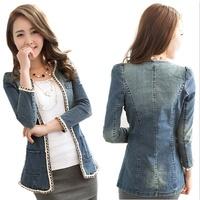 jeans jacket women 2014 desigual autumn vogue jean jackets for women vintage chain neck cardigan jacket coat ladies jeans coat