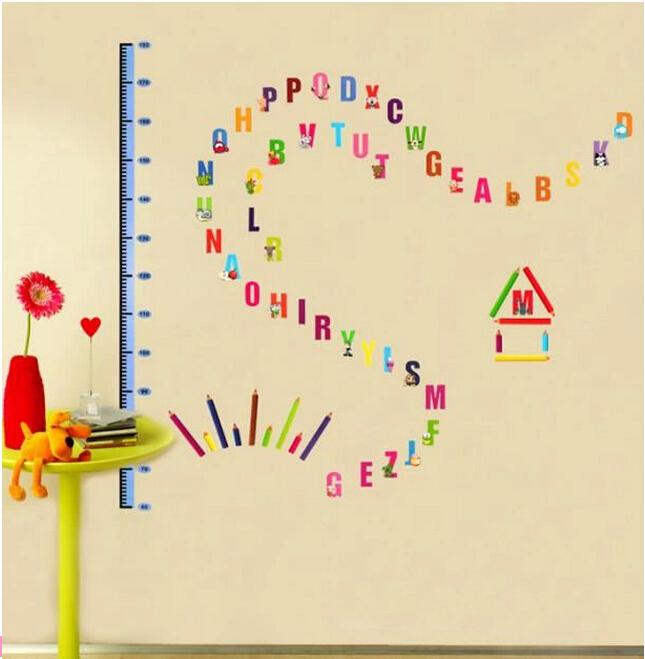 Wall Decoration Kindergarten : English letters height post for children bedroom room