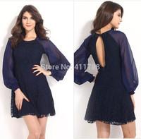 New Arrive 2014 Ladies Fashion long sleeve Dark blue Lace Autumn Elegant  Vintage Dresses Women