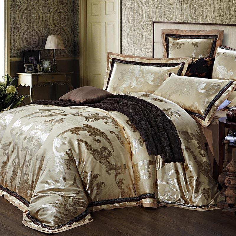 Jacquard de cetim de qualidade cama de casamento de luxo conjunto de consolador define rei queen size capa de edredão colcha cama em um saco colcha folha(China (Mainland))
