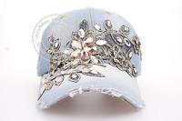 Free Shipping Fashion Diamond Floral Baseball Cap Zircon Denim Snapback Caps Spring Women Drill Hats 5colors Gorras Punk Hat