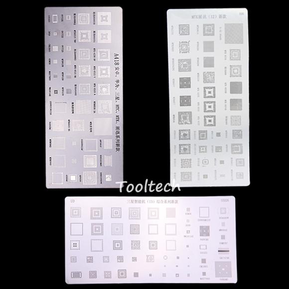 3 pcs/lot Mobile Phone Common BGA Stencils for Samsung HTC Huawei Android MTK Directly Heating BGA Reballing Tools Stencils Kit(China (Mainland))