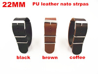 2014 New arrived 1PCS High quality 22MM PU leather nato straps Watch band  watch strap black ,brown,coffee color -0724