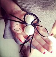 2014 New Cute Lovely  Hair Accessories Pearl Hair Bow Elastic Hair Bands Fashion Silk  Headwear  F094