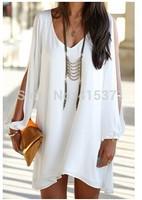 New Arrival Hot Sale European Fashion Elegant Women's V-Neck Long Sleeve Loose-Fitting White Chiffon Dress For Women In Summer