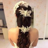 Big Leaf Bridal Pearl Hair Pins, Bridal Hair Wear, Hair Jewelry with Ribbon and Rhinestone, Wedding Accessories