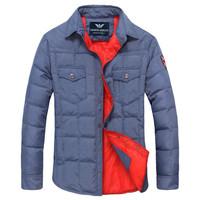 G A Brand Men Duck Down Shirt Coat men's Thick Warm Autumn Winter Jacket Hoodies outdoors Breathable Fashion Parka Jumpsuit