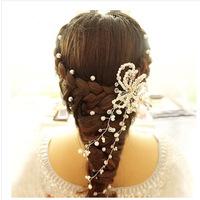 Handmade Bridal Crystal Pearl Hair Pins, Bridal Hair Wear, Hair Jewelry with Ribbon and Rhinestone, Wedding Accessories