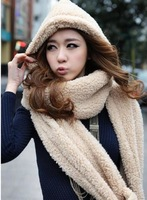 Lowest Price 2014 Korean women new autumn winter scarf lovely double-thick wool scarves with hats gloves three one free shipping
