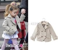 2014 British designer Girl's Fashion jackets Girls Outerwear & Coats blazer Trench Autumn Winter Girls Wool Jackets