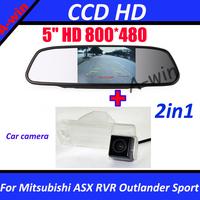 "5"" Car Mirror Monitor TFT HD 800*480 with car rear view camera for Mitsubishi ASX RVR Outlander Sport car parking camera CCD HD"