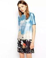 2014 Fashion Elegant Swan Graffiti Cartoon Short-sleeved Satin Dress Free Shipping XZR08