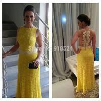Sexy Sleeveless Floor Length Sheer Back Yellow Lace Pearls Long Formal Party Evening Dresses Prom Dress Vestido De Festa 2015