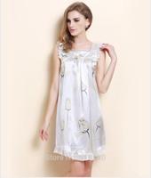 100% pure silk night skirt ,nightgown ,night wear .free shipping flora print