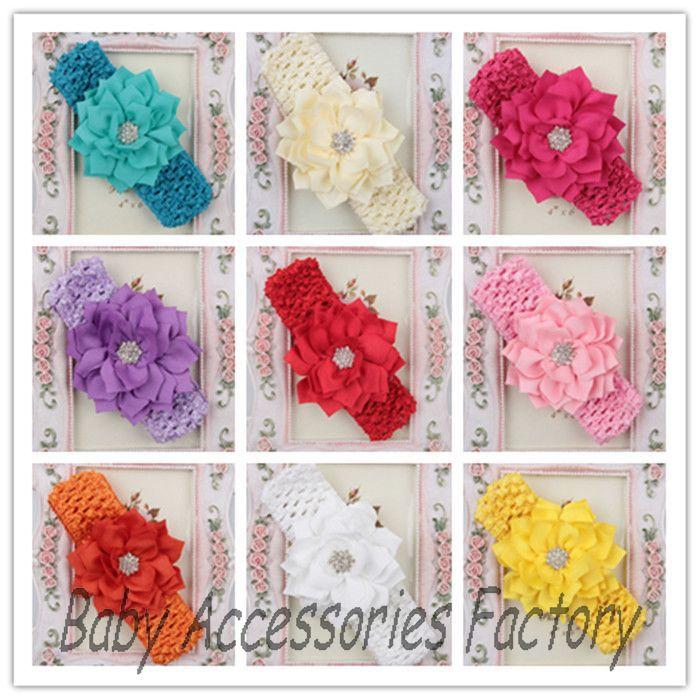 Chic Baby Lotus Flower Headband With Rhinestone Infant Chiffon Headband Crochet Flower Hair Band Hair Accessories free shipping(China (Mainland))