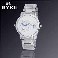 EYKI Brand Fashion Luxury Watches, Digital Analog Dual Time Watches, Waterproof Watches, Men Leather Quartz Watch, Free Shipping