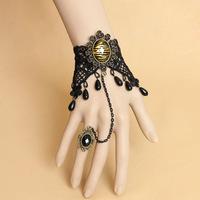 MWT Handmade Leopard Print Rhinestone Flower Bracelet  & Adjustable Ring Set Wristbands Punk Lolita Gothic Fashion Accessories