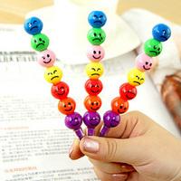 50PCS Random Funny Cartoon Face Sugar-coated Haws 7 Color Crayon Color Wax Pencil