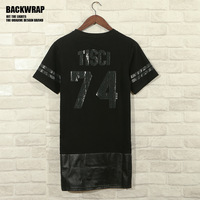 2014 New HipHop Black Men T Shirt Retro West Zipper B-Boy NO. 74 Printed Tees Trend Harajuku Streetwear Dress FREE SHIP