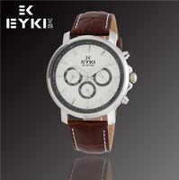 Hot Sale EYKI Brand Fashion Casual Men Watch, Waterproof Watches, Men Leather Quartz Watch, Free Shipping