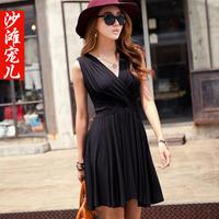 Fashion cross V-neck sleeveless short  tank dress beach dress one-piece dress female