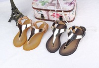 Sexy Flip Flops Metal Decoration T Strap Genuine Leather Flat Shoes Fashion Women's Sandals