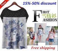 Very Beautiful 2014 Summer New European and American women's summer dresses Splicing printed sleeveless chiffon shirt dress