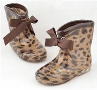 Children fashion leopard slip-in-tube water shoes rain boots sweet bow boots children boots kids rain shoes
