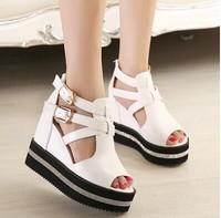 Free shipping,2014 Women lady sexy peep toe rhinestone buckle wedge high heels platforms sandals shoes,white,gold,black