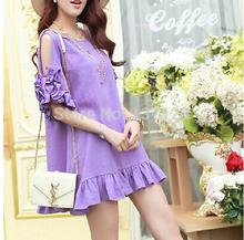 Hot new primavera e verão das mulheres chiffon vestido de baile vestido casual wear solta de grandes dimensões M-4XL roupas para pessoas gordas(China (Mainland))