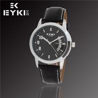 Hot Sale New Fashion EYKI Jewelry Luxury Brand Watches Calendar Business Casual Men Sports leather quartz watch W8408AG
