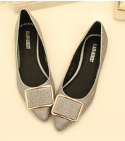 Free shipping,2014 Women girls new fashion pointed toe metal buckle low heels shoes flats, gold,grey