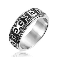 "316L Titanium Stainless Steel Rotating Blessing Ring, Power Lucky ""Om Mani Padme Hum"" Sanskrit Buddhist Mantra Ring, Never fade"