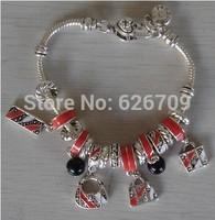 PH077 2014 new arrival New European Style Charm Glasses Silver Beaded Bracelets & Bangles handmade Bracelets & Bangles best gift