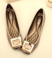Free shipping,2014 Women girls new fashion square metal buckle low heels shoes flats, 3 colors,Euro 41