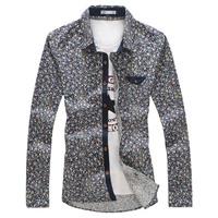 2014 2015 spring autumn high quality plus size 3XL 4XL 5XL dark blue broken floral anchor print shirts men fashion dress shirts