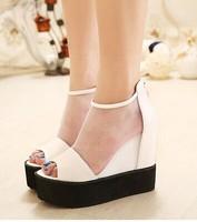 Free shipping,2014 Women lady sexy peep toe mesh wedge high heels platforms sandals shoes,white,black