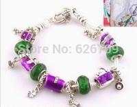 PH073 Free Shipping wholesale pan silver bead Charm Bracelets & Bangles for women European Style Handmade 925 Silver jewelry