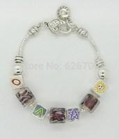 PH074 Alibaba Express Fashion European Style 925 Silver Charm Bracelets & Bangles with Murano Glass Beads DIY Fashion Jewelry