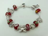 PH080 Free Fast Shipping European Style 925 Silver  Charm Bracelets & Bangles Women with Charmilia Glass Beads Fashion Jewellery