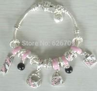 PH078 2014 new arrival New Fashion Style Handmade Charm Beaded 925  Silver Women Bracelets & Bangles Best Gift For Mother