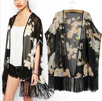Women Blouse 2014 Sexy Ladies Elegant Floral Print Loose Kimono Chiffon Long Blouse Tassel Shirt Vintage Cardigan Brand Tops