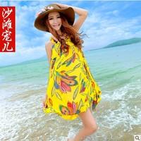 Women's bohemia chiffon one-piece dress suspender  medium beach dress