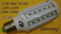 NEW Dimming 15W LED Corn Light E27 E14 B22 led lamp 54 LED SMD 5730 / 5630 Chip 110V/220V Warm White Cool White led Lamp 5pcs