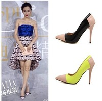 Free shipping,2014 Women new sexy pointed toe patchwork thin high heels shoes,lady pumps heels,yellow black,Euro 40