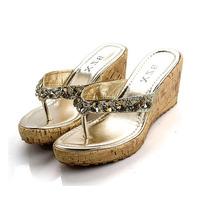 2013 summer female slippers crystal sandals rhinestone high heel wedges platform genuine leather female flip flops