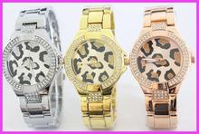 Venta caliente! moda GSS marca Leopard Dial reloj. lujo Rhinistone mujeres reloj de pulsera con logo oro rosa godl reloj