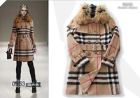 2014 new british double-breasted cloth wool coat Brand turn down collar blend wool collar  Women autumn winter clothing DHL free