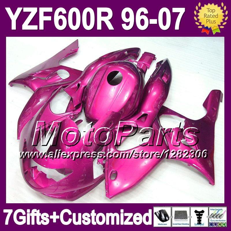 7gifts&TankFor YAMAHA ALL Rose YZF600R 1996 1997 1998 1999 2000 YZF 600R 2004 2005 2006 2007 *54 Gloss rose Fairing Kit(China (Mainland))