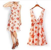 2014 Europe and America summer women V-neck print dress Chiffon Casual Flowers Sleeveless tank woman clothes vestido de festa